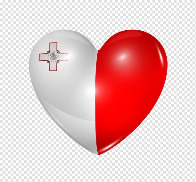 Liebe malta symbol eines 3d-herzens mit flaggenentwurf isoliert