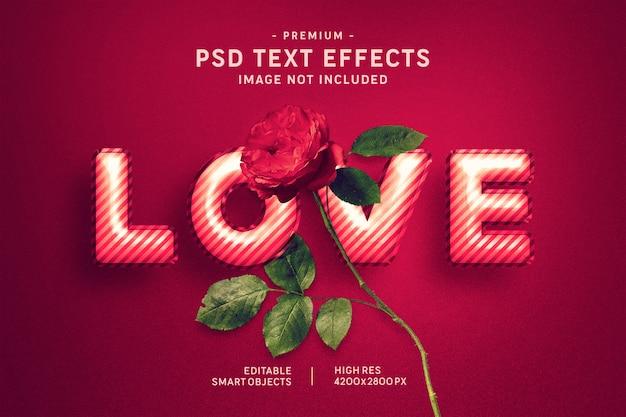 Liebes-valentine balloon text-art effekt auf dunkelrotes