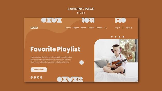 Lieblings-playlist-junge, der ukulele-landingpage spielt