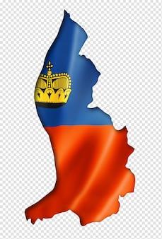 Liechtenstein flaggenkarte, dreidimensionaler render, isoliert auf weiß