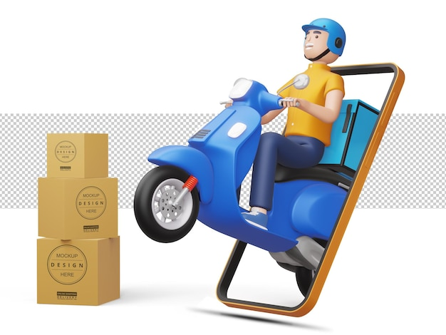 Lieferbote, die ein motorrad fahren, kommen aus dem telefon mit paketbox in 3d-rendering