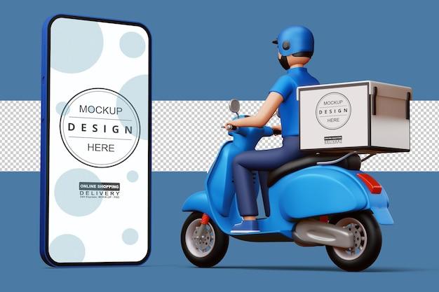 Liefermann, der ein motorrad mit lieferbox und großem telefon in der 3d-wiedergabe reitet