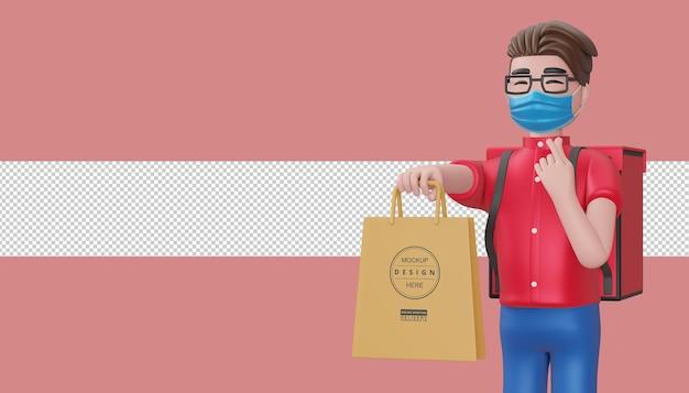 Liefermann, der mini-herz mit händen tut und eine einkaufstasche hält, 3d-rendering