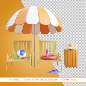 Liegestühle und sonnenschirme mit strandballgepäck 3d-rendering