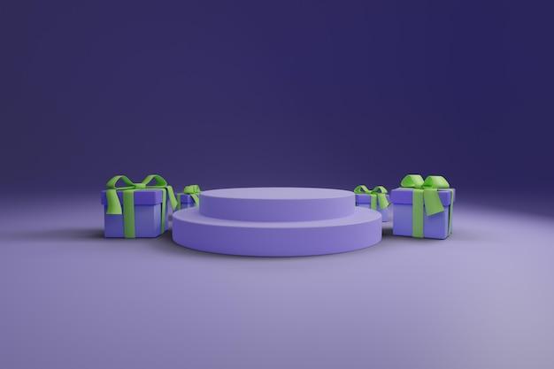 Lila podium mit geschenkbox