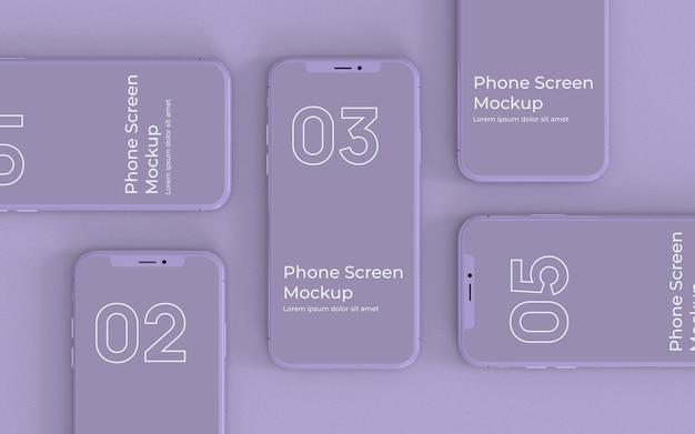 Lila smartphones modell draufsicht