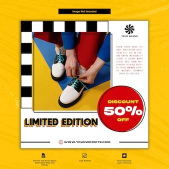 Limited edition mode- und sneaker-schuhe social media template-design