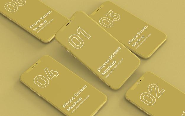 Linke ansicht des gelben smartphone-modells