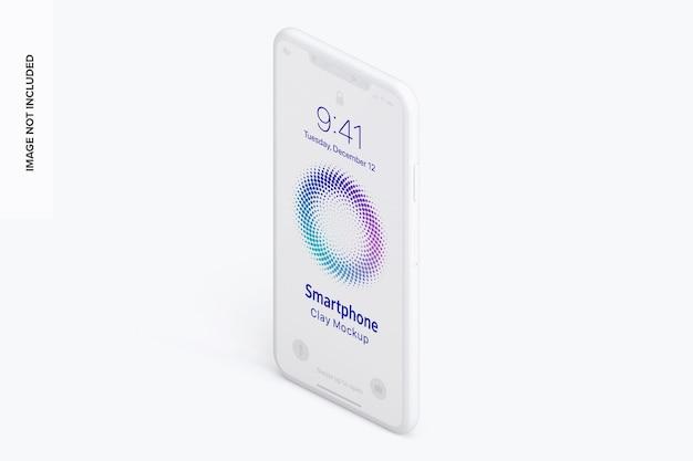 Linke ansicht des isometrischen ton-smartphone-modells