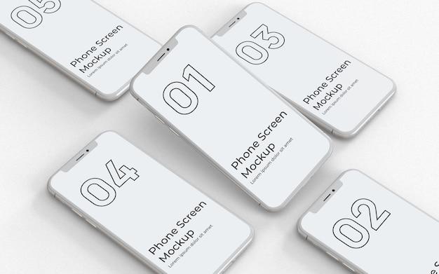Linke ansicht des weißen smartphone-modells