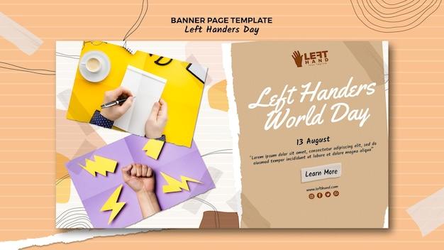Linkshänder tag banner vorlage konzept