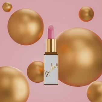 Lippenstift-logo-modell auf rosa hintergrund