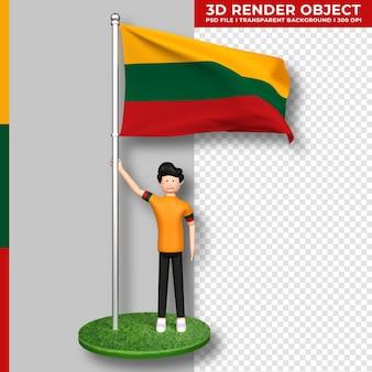 Litauen-flagge mit niedlichen menschen-cartoon-figur. tag der unabhängigkeit. 3d-rendering.