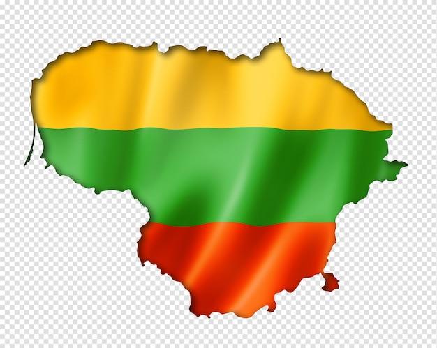 Litauische flaggenkarte, dreidimensionaler render, lokalisiert auf weiß
