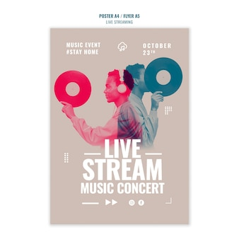 Live-musik streaming poster vorlage design