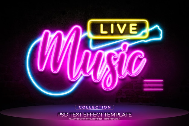 Live-musik-texteffekt im cyber-neon-stil