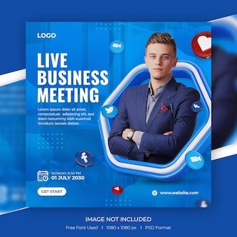 Live-stream für digitales marketing für social-media-beiträge mit 3d-vorlage