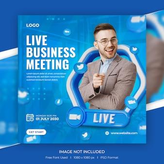 Live-streaming von digitalem marketing und social-media-beiträgen mit 3d-vorlage