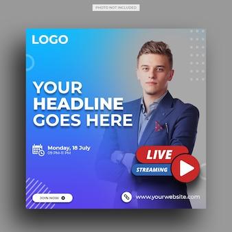 Live-streaming-workshop für social-media-post-vorlage