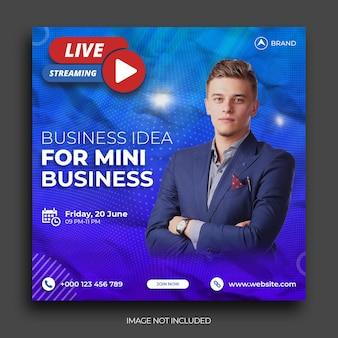 Live-streaming-workshop social media instagram-post banner-vorlage