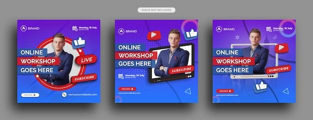 Live-streaming-workshop social-media-post, instagram-post-vorlage
