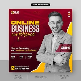 Live-webinar der agentur für digitales marketing und vorlage für social-media-beiträge im unternehmensquadrat