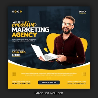 Live-webinar für digitales marketing und beitragsvorlage für soziale medien in unternehmen