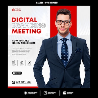 Live-webinar für digitales marketing und social-media-beitrag für unternehmen