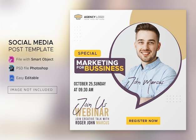 Live-webinar für digitales marketing und social-media-post für unternehmen oder quadratische flyer-vorlage premium psd