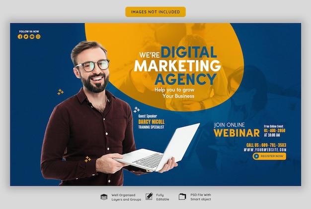 Live-webinar für digitales marketing und vorlage für unternehmens-webbanner