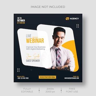 Live-webinar-post-vorlage für soziale medien des digitalen marketings