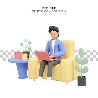 Lockiger mann, der sitzend auf stuhl mit laptop-freiberufler 3d-illustration arbeitet premium psd
