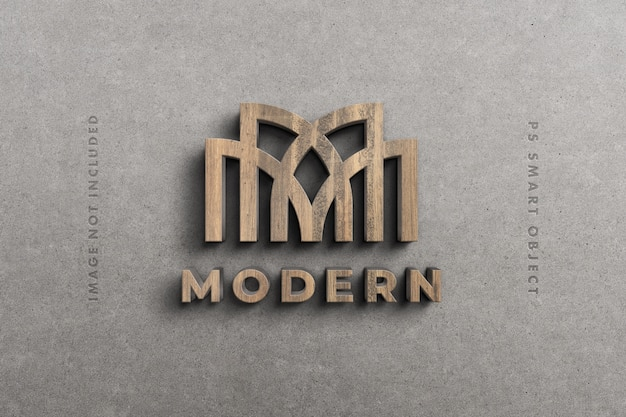 Logo 3d modell in holz