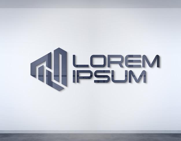 Logo an der bürowand mockup