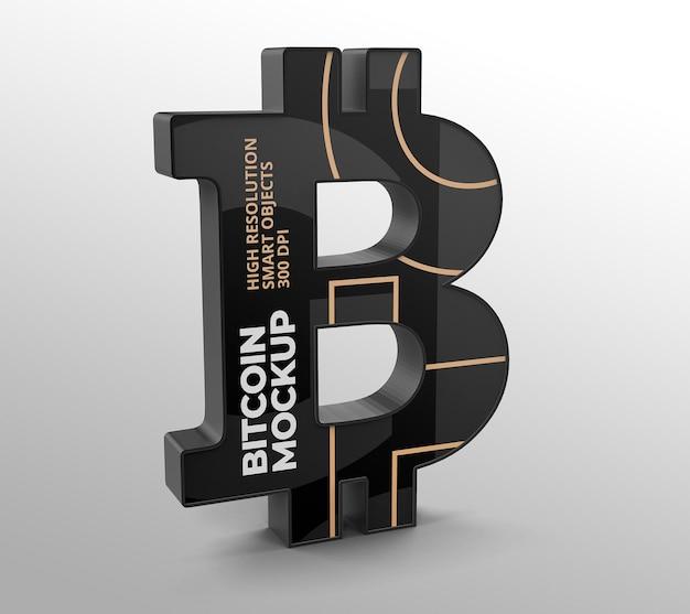 Logo bitcoin mockup für branding- und werbepräsentationen