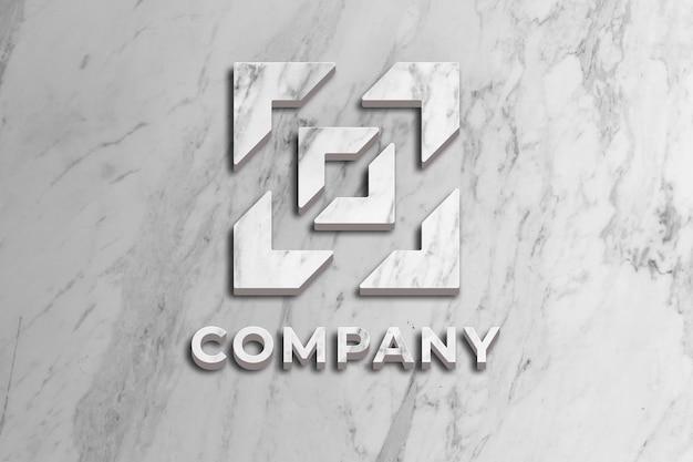 Logo-firmenmodell mit marmoroberfläche an der wand