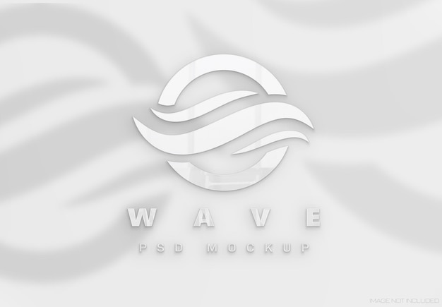 Logo mit weißem glänzendem 3d-effekt und schatten mockup