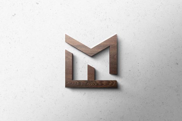 Logo mockup 3d holz