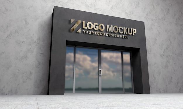 Logo mockup 3d schild gebäude 3d gerendert