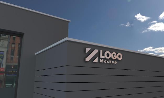 Logo mockup 3d sign schwarze fassade gebäude 3d gerendert