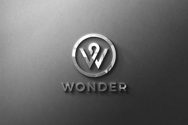 Logo mockup 3d-vorderwand