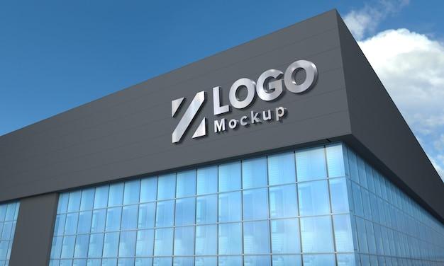 Logo mockup 3d-zeichen schwarzes gebäude 3d gerendert