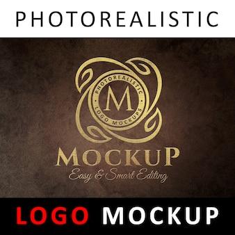 Logo mockup - altes goldenes strukturiertes logo