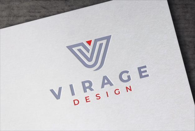 Logo mockup buchdruckpapier