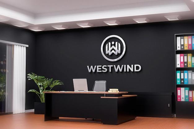 Logo mockup büroraum schwarze wand realistisch black