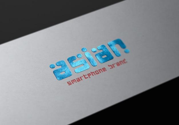 Logo mockup closeup auf weißer produktbox