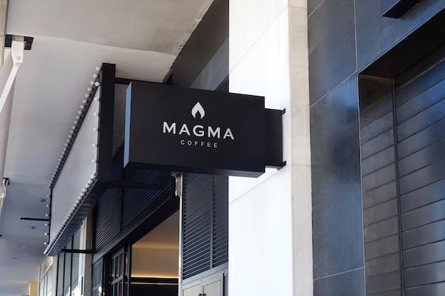 Logo mockup coffe schwarz hang zeichen