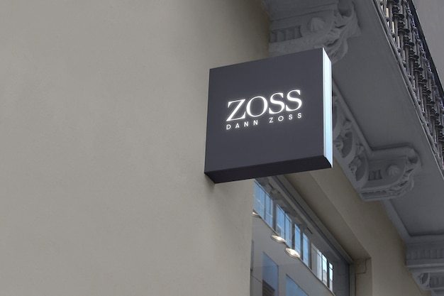 Logo mockup dark grey hanging sign
