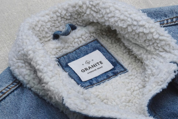Logo mockup denim polar jacket label polar