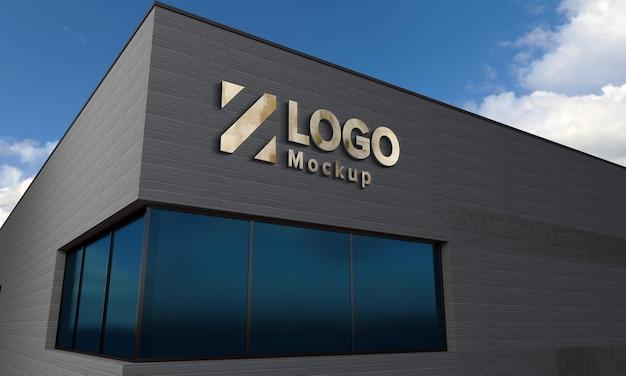 Logo mockup design gebäude seitenansicht 3d gerendert